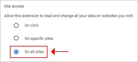 A preview of how Chrome shows how to manage site access for the Hola VPN extension