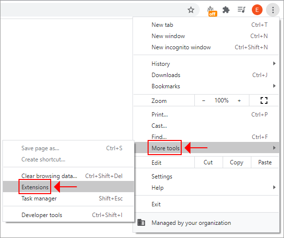 Chrome shows the Extensions menu