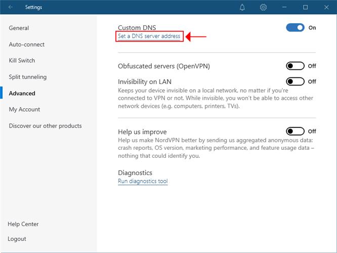 NordVPN highlights the DNS server address