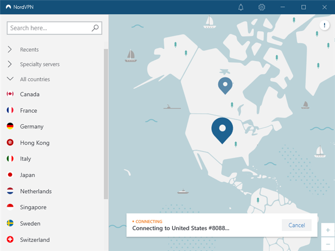 NordVPN is connected to a US server
