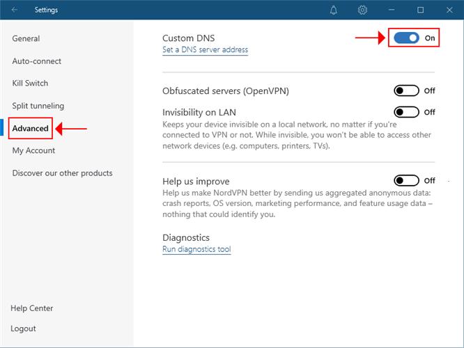 NordVPN highlights the custom DNS settings