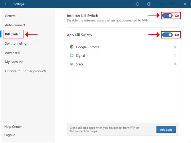 NordVPN highlights the kill switch settings