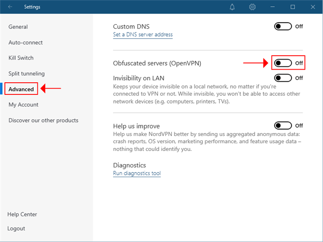 NordVPN highlights the advanced and obfuscation settings
