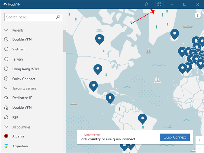 NordVPN highlights the settings button in the main window