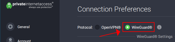 A preview of how Private Internet Access highlights the WireGuard protocol