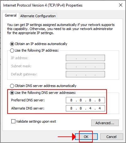 Windows 10 uses the Google Public DNS servers for IPv4 addresses