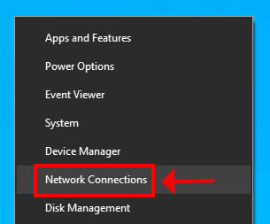 A preview of the Network connections option in the Start right-click menu (Windows 10)