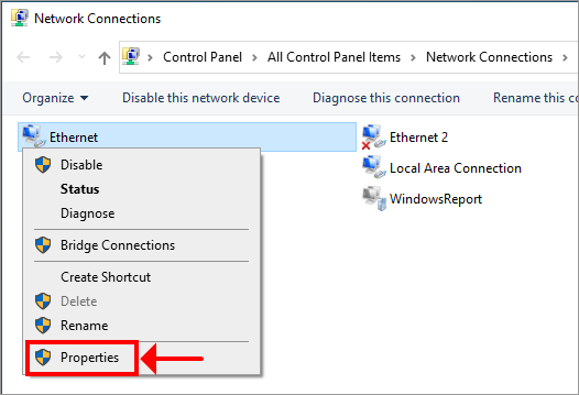 Windows 10 shows how to access network connection properties