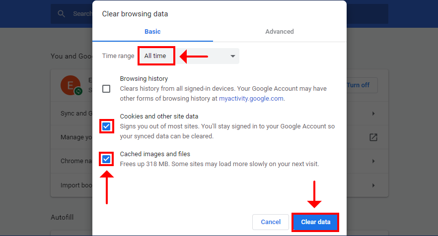 Chrome shows how to clear browsing data