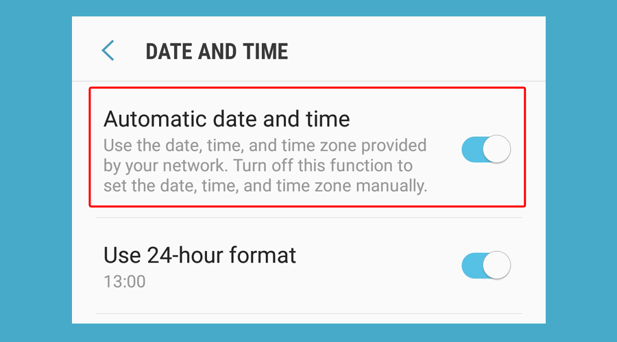 Android shows automatic date and time option