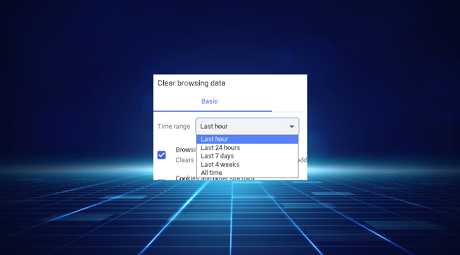 Chrome clear browsing data shows time range