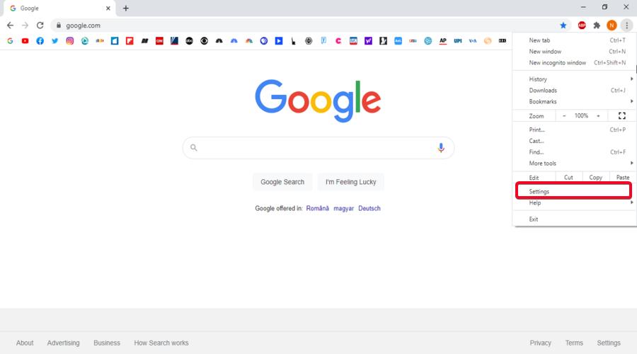 Google Chrome shows the menu Settings button
