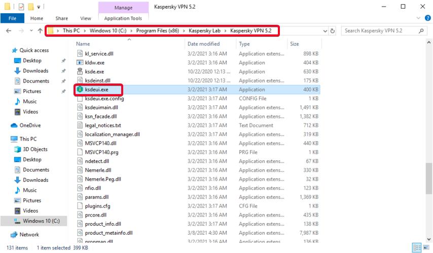 Windows explorer shows how to access the ksdeui.exe process