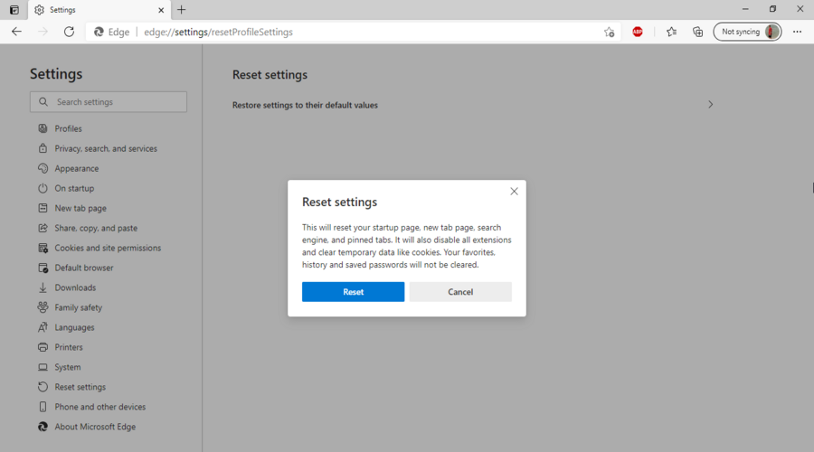 Microsoft Edge shows the Reset settings confirmation button