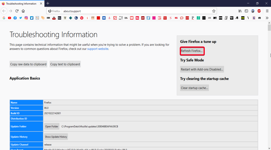 Mozilla Firefox show Troubleshooting Information