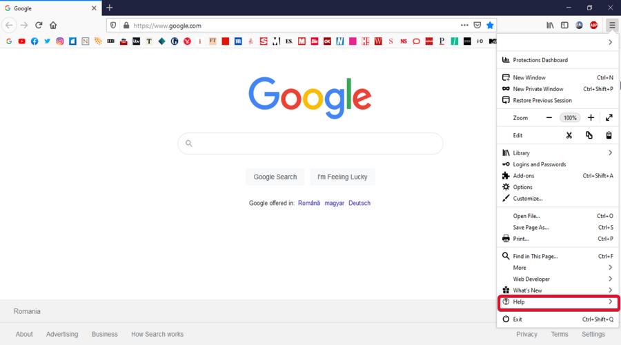 Mozilla Firefox shows the menu Help button