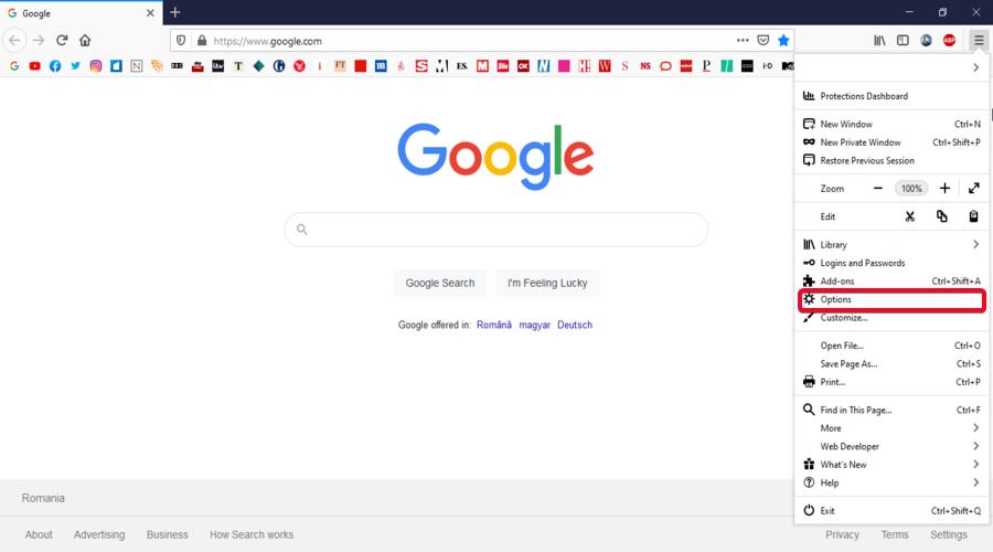 Mozilla Firefox shows the menu Options button