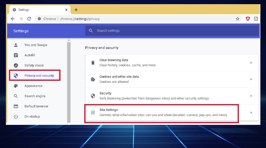 Chrome Privacy and Security displays Site Settings