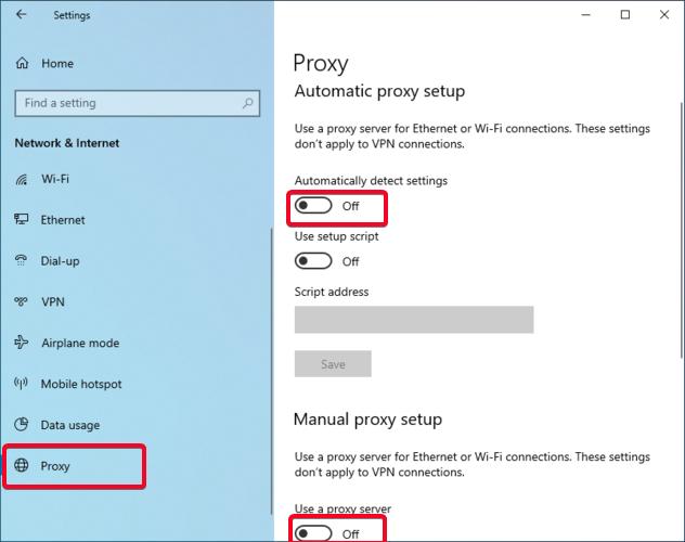 Windows shows the Proxy setup window