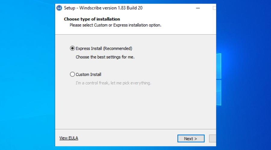 Windows 10 shows install Windscribe vpn window