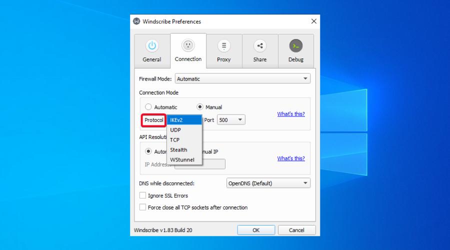 Windscribe VPN shows switch protocols option