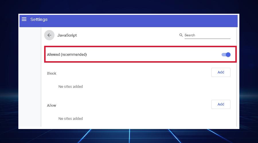 Windows shows Enable JavaScript