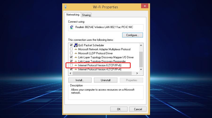 Windows Internet Protocol version 6 WiFi properties