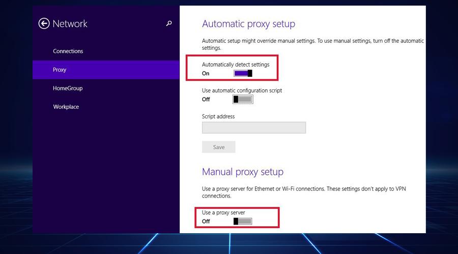 Windows automatic proxy setup