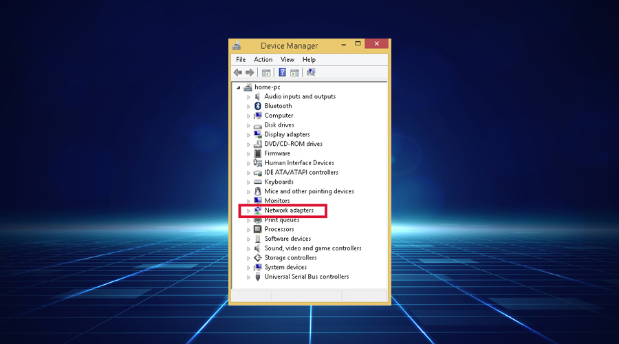 Windows shows device manager select network adapters