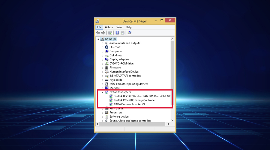 Windows shows expand network adapters list