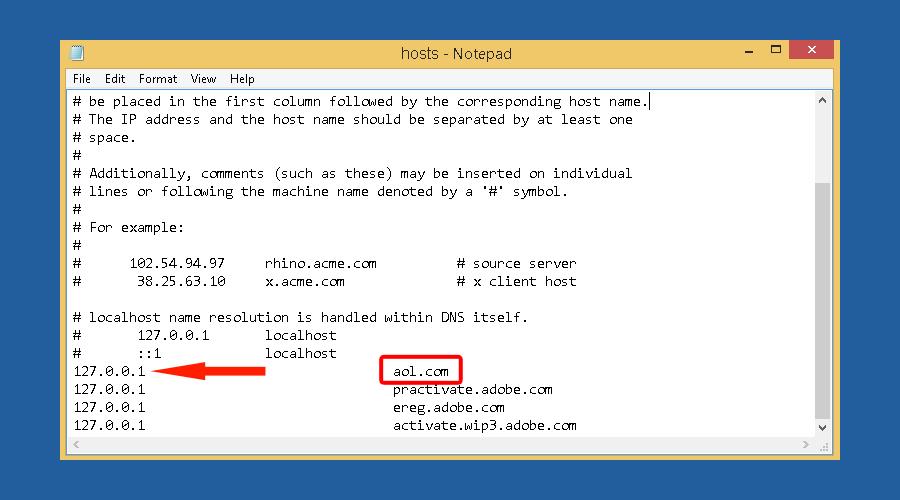 Windows restricted websites hosts notepad