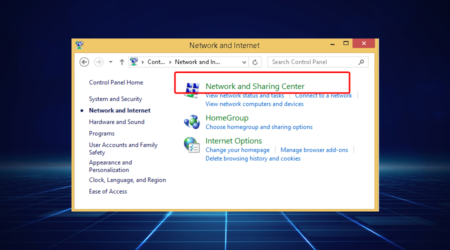 Windows shows network and sharing center