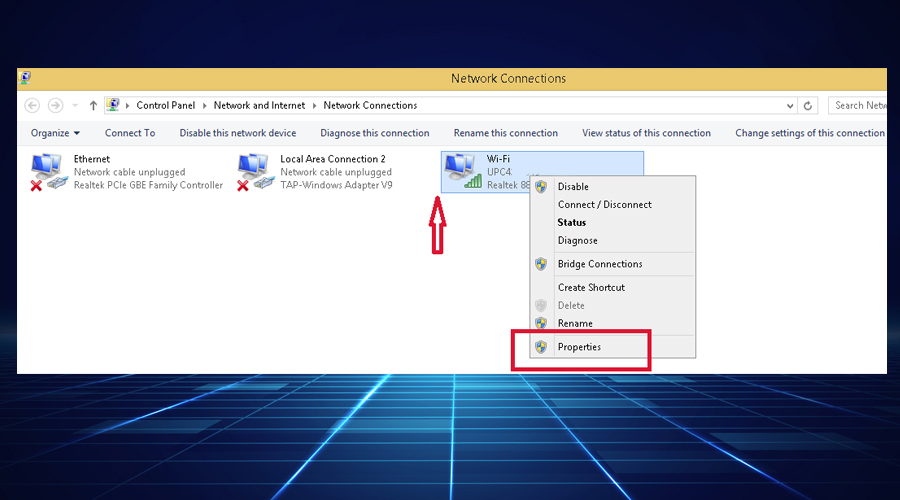 Windows displays network connections properties
