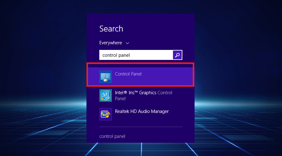Windows shows search control panel