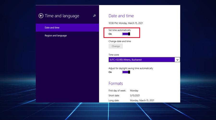 Windows shows set time automatically option