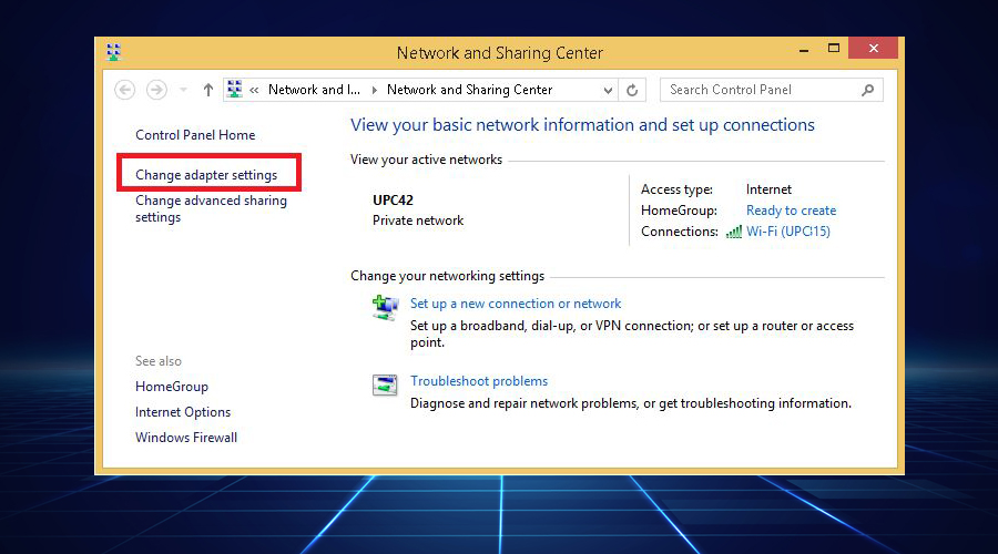 Network and Sharing Center displays Change adapter settings