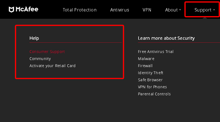 McAfee VPN shows Support and Help section