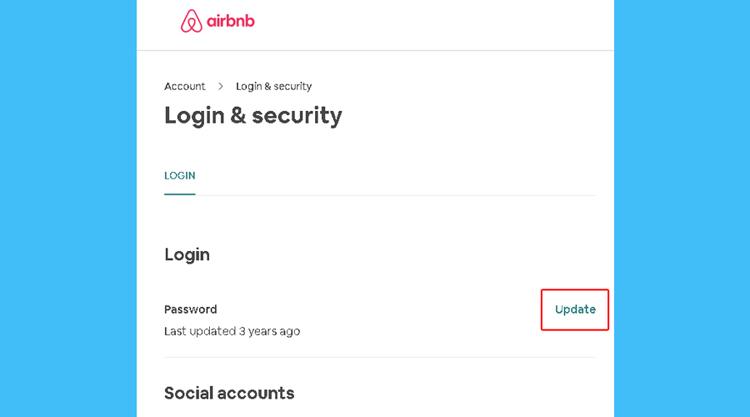 Airbnb update password