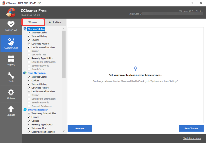 CCleaner shows Windows applications