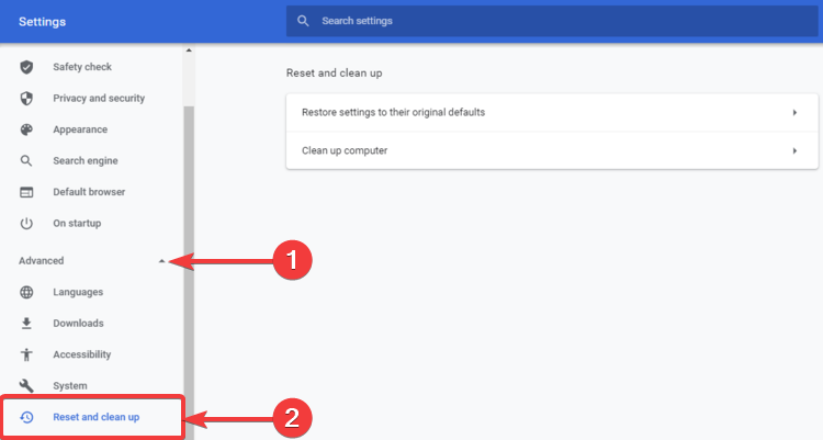 Chrome shows Advanced, Reset and clean up