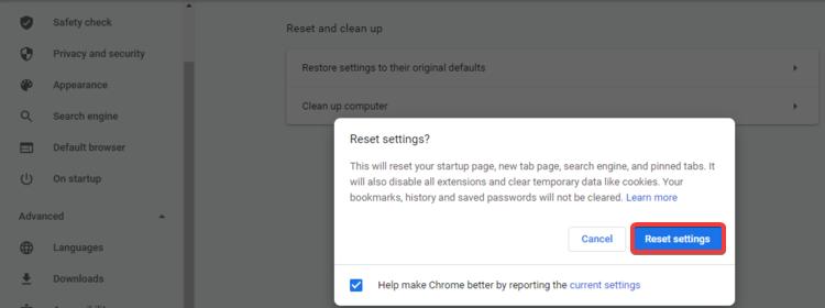 Chrome shows Reset settings