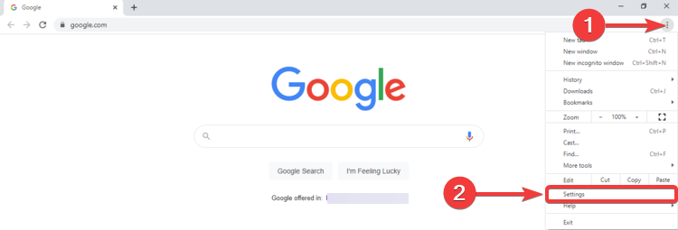 Chrome shows menu and Settings