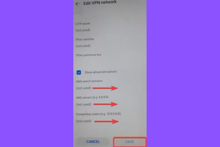 Huawei shows L2TP IPSec PSK, DNS domain, server, forwarding route