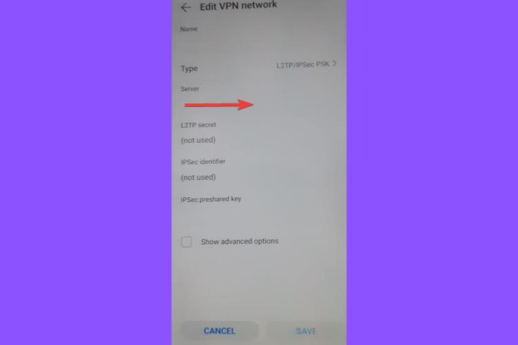 Huawei shows L2TP IPSec PSK Server address