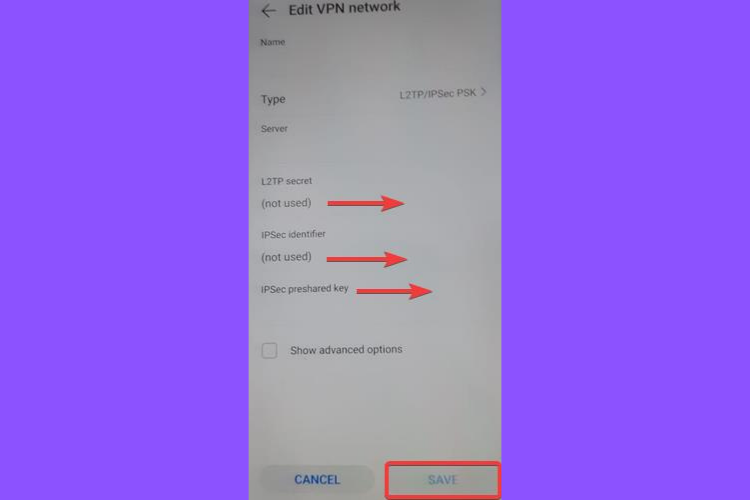 Huawei shows L2TP IPSec PSK secret key, identifier, preshared key