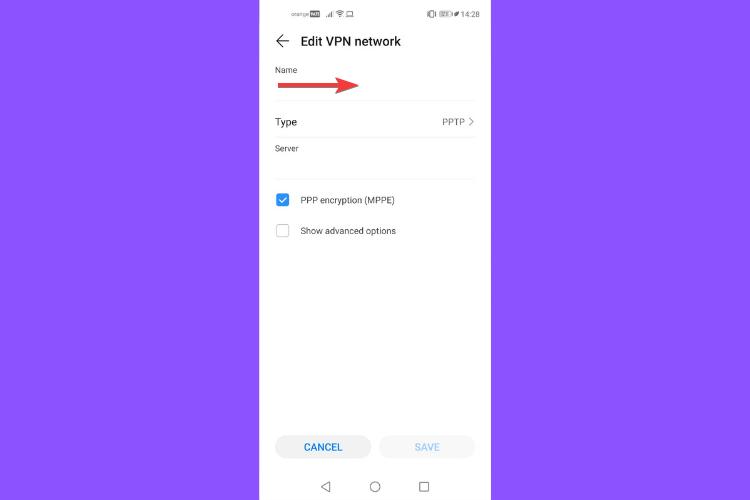 Huawei shows VPN server name
