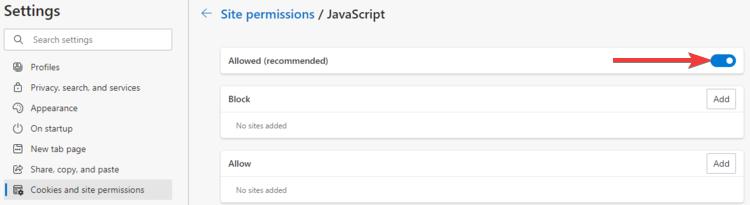 Edge shows JavaScript Allowed