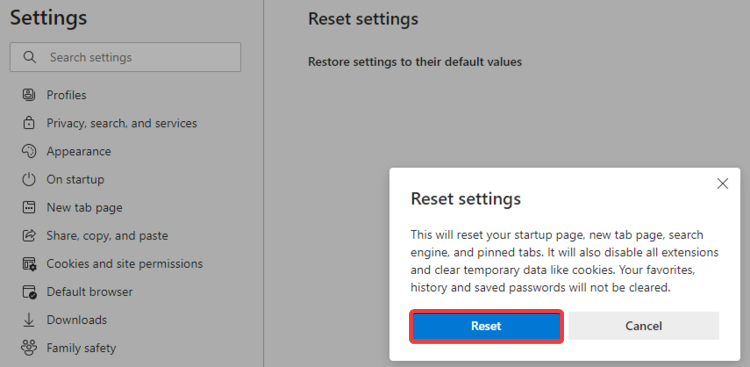 Edge shows Reset settings confirmation