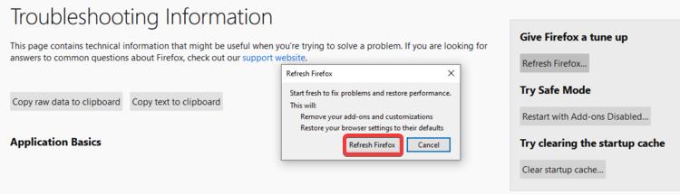 Firefox shows Refresh Firefox confirmation