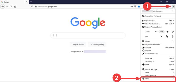 Firefox shows menu and Help